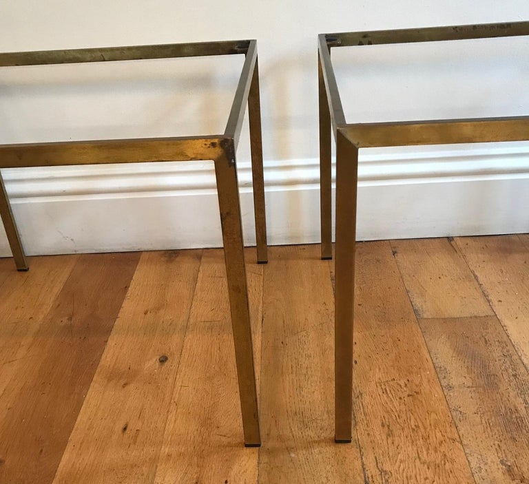 Pair of French 1970s Gilt Metal Tables For Sale 11