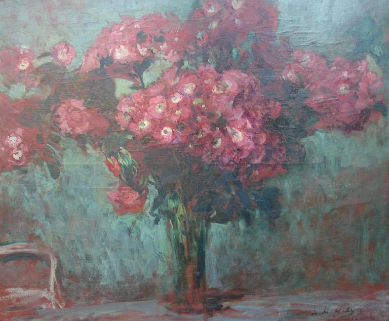 A stunning large still life by Jacques Emile Blanche, painted as a study for a Gobelins Tapestry. The painting was dedicated to the Director of the Beaux Arts Paris L Helvig signed JE Blanche and dated 1930. It is painted in oil on canvas and has a