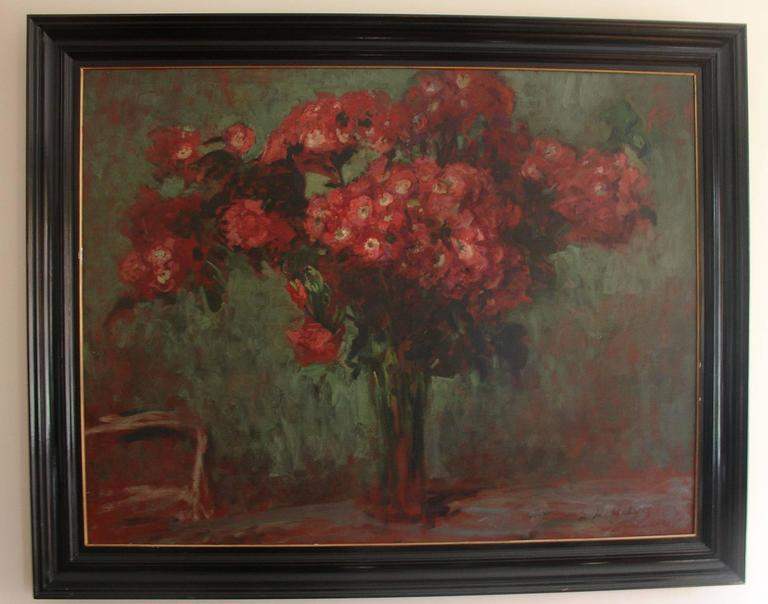 Beaux Arts Jacques-Emile Blanche Stunning  Still Life painting of a Bouquet of Red Flowers For Sale