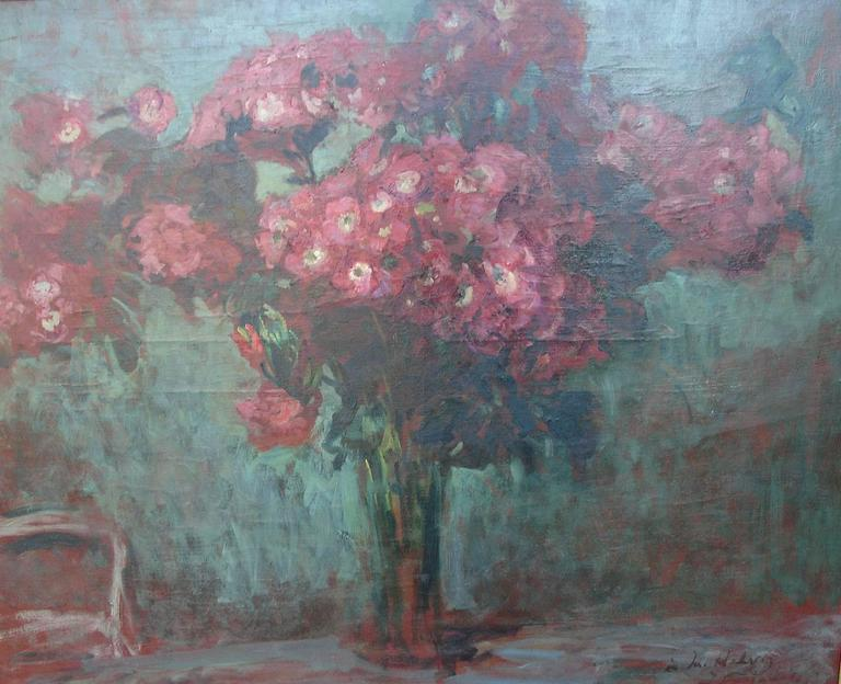 French Jacques-Emile Blanche Stunning  Still Life painting of a Bouquet of Red Flowers For Sale
