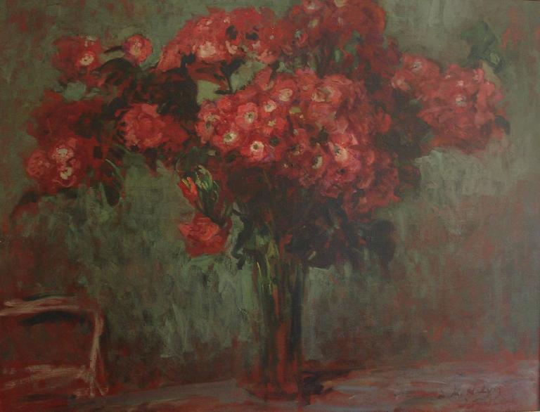 Ebonized Jacques-Emile Blanche Stunning  Still Life painting of a Bouquet of Red Flowers For Sale
