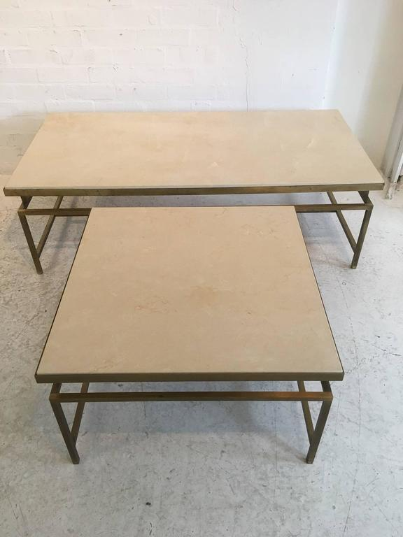 Set of side table and matching coffee table gilt metal and for Matching coffee table and side table
