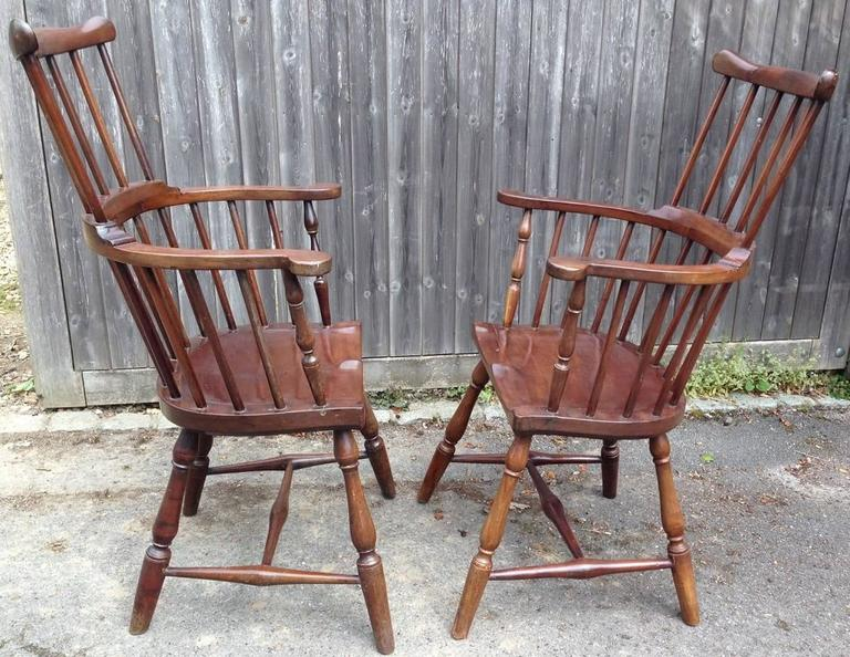 Attributed to Francis Trumble. Philadelphian renowned chair maker. This pair are a rare Jamaican copy of his chairs. They are significant because very few were made, and survive. The more regular mahogany Windsor, are more common but these too are