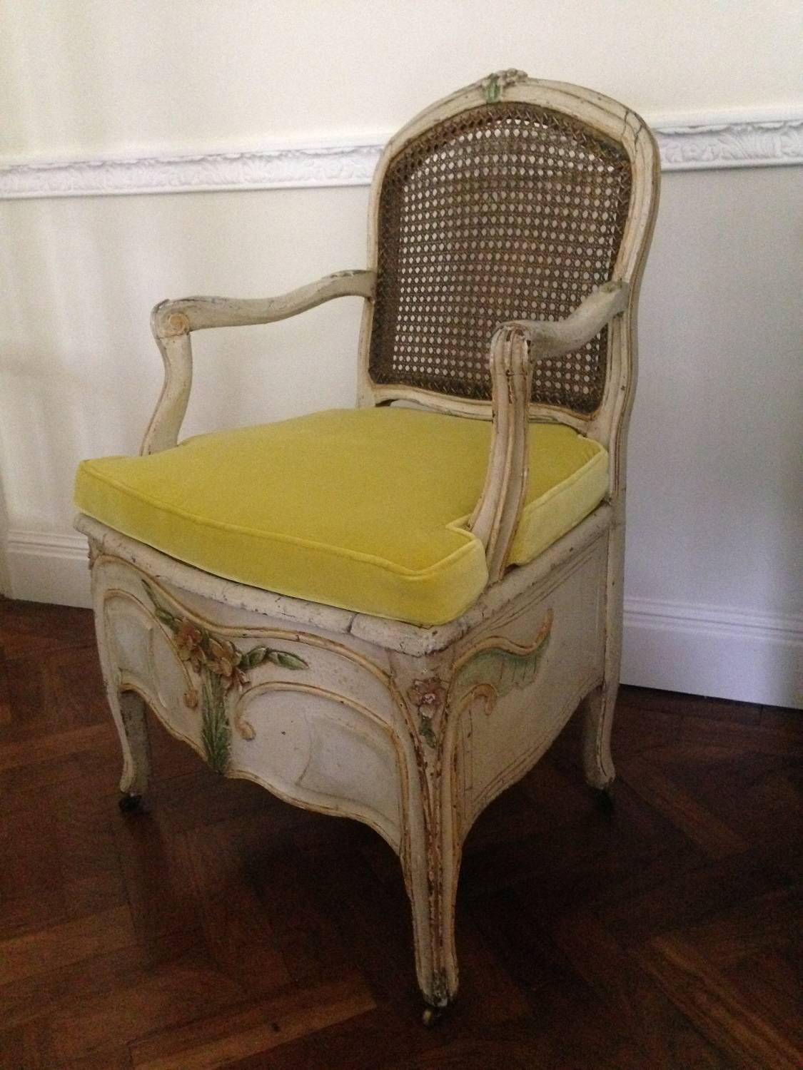 Louis XV Style Painted Commode Chair Or Bergere French Circa 1800 At 1stdibs