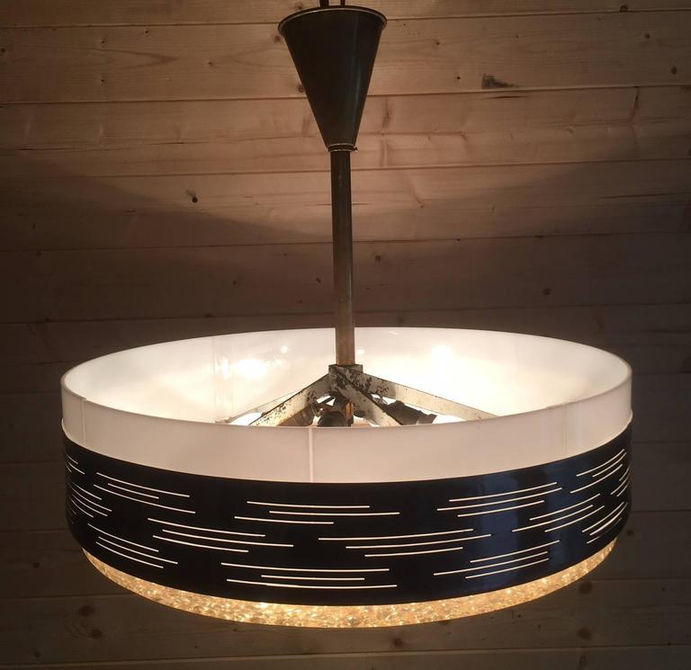 Dallux Gilt Metal And Perspex Ceiling Light Produced By Sinmar