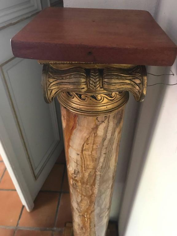 Bronze Marble Pedestal Column with Ormolu Mounts, Italian, circa 1900 For Sale