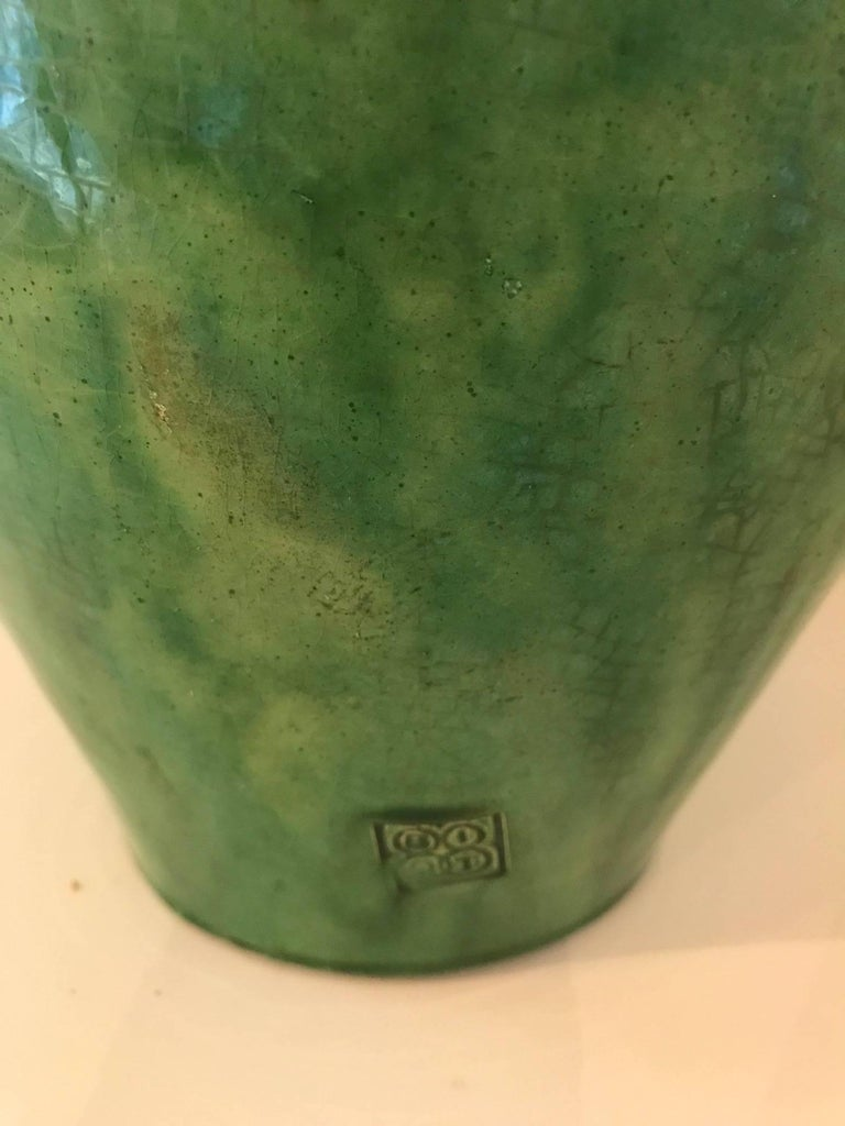 Tall Green Glazed Ceramic Vase Signed Biot 4