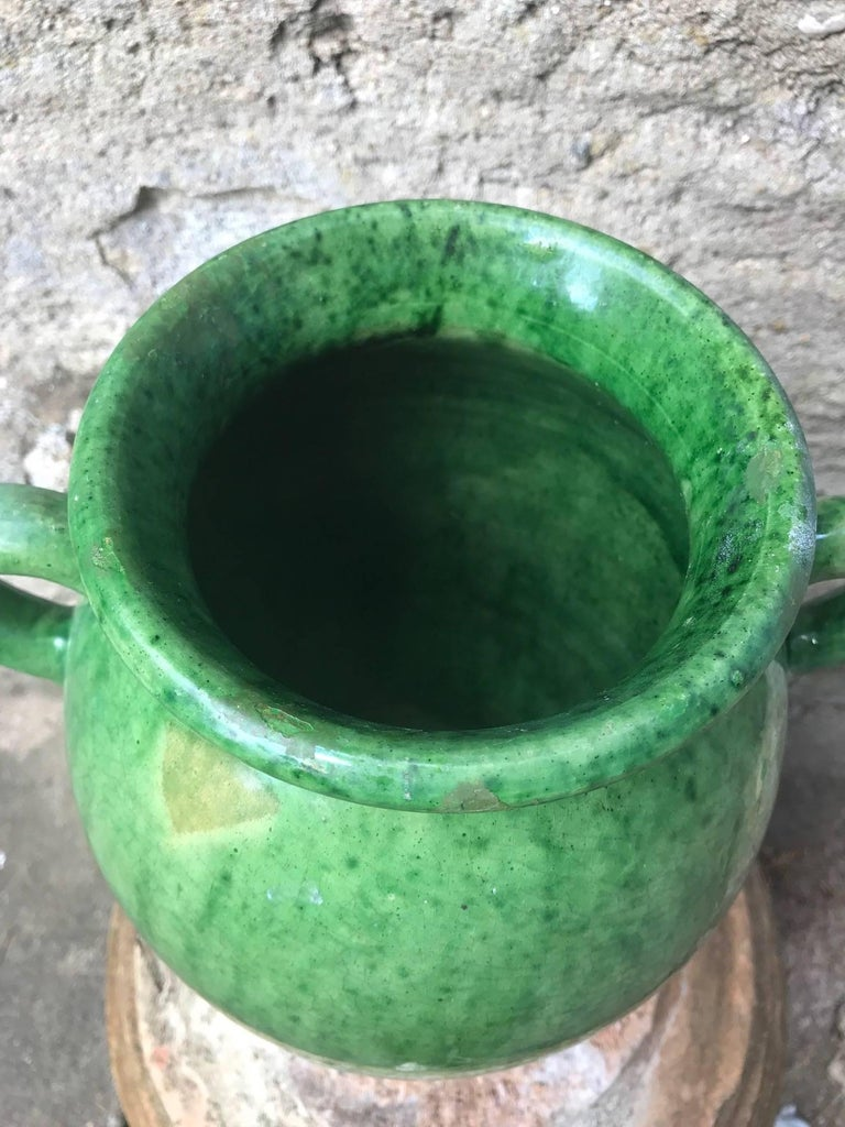 Tall Green Glazed Ceramic Vase Signed Biot For Sale 2