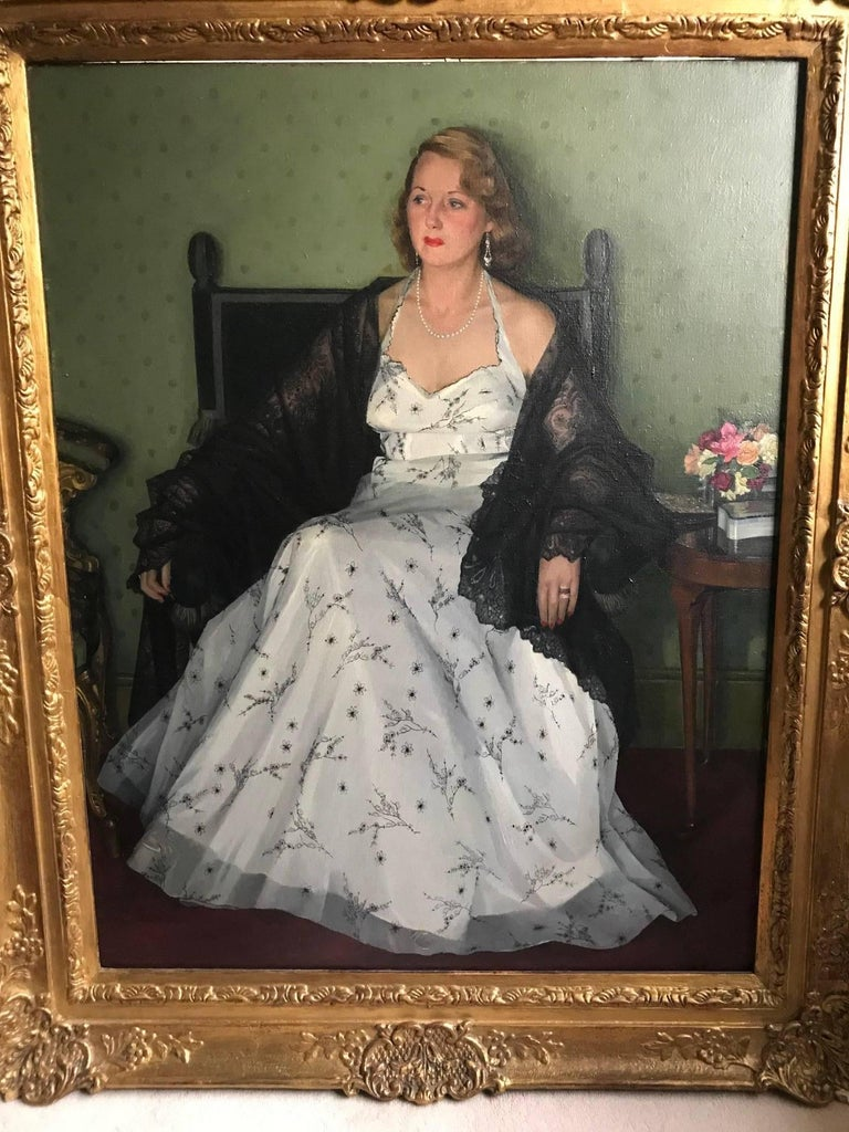 """A stunning portrait entitled verso """"Mrs Franks"""" by the British artist Edwin (Ted) Greenman 1909-2005. A hugely talented portrait painter who was a member of the Royal Society of British Portrait painters. Edwin Greenman will be remembered"""