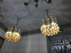 pair Mid-Century Italian chandeliers by Venini with waterfall prisms