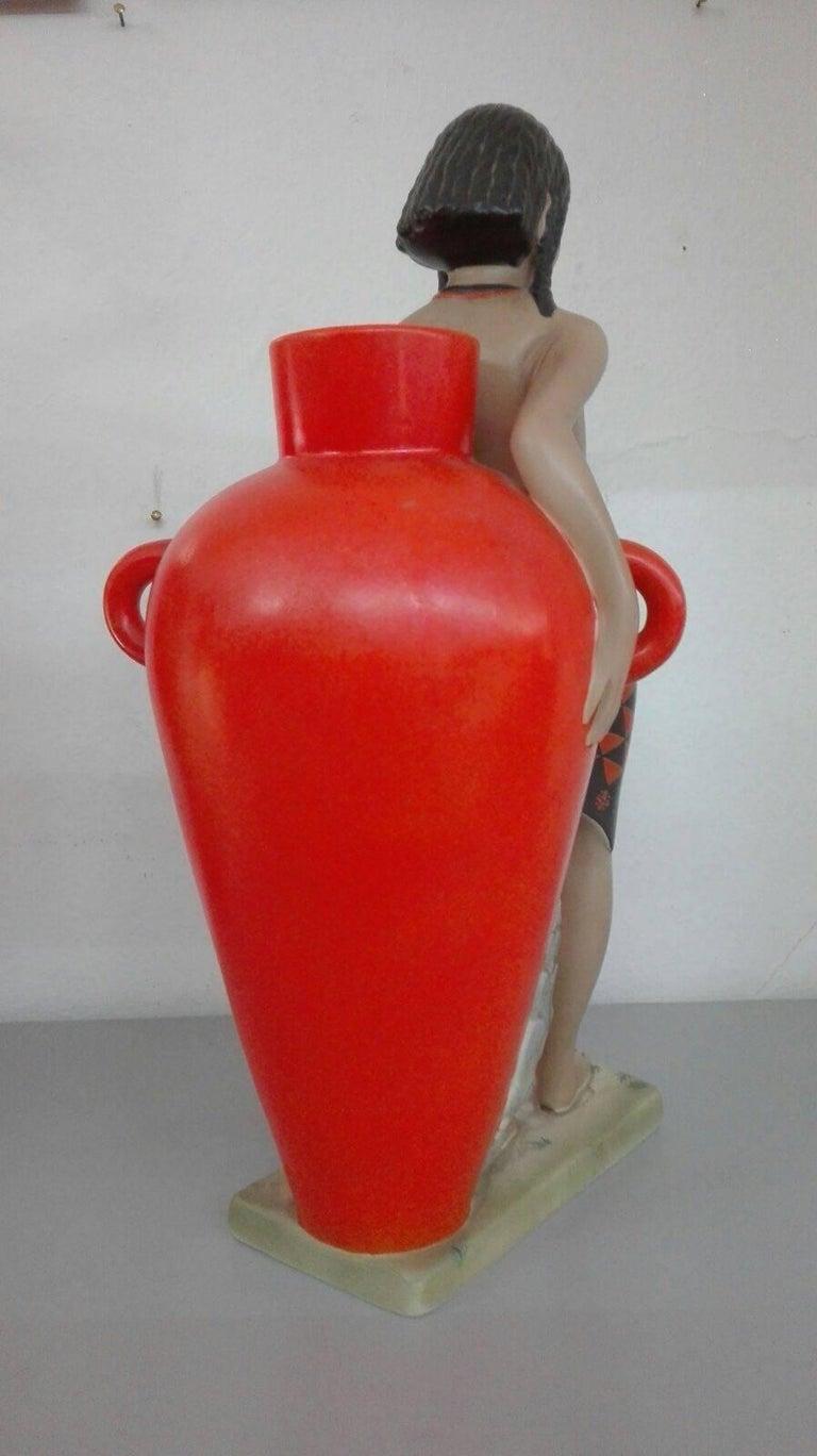 Polychrome Ceramic Statue Abele Jacopi Lenci Turin 1936
