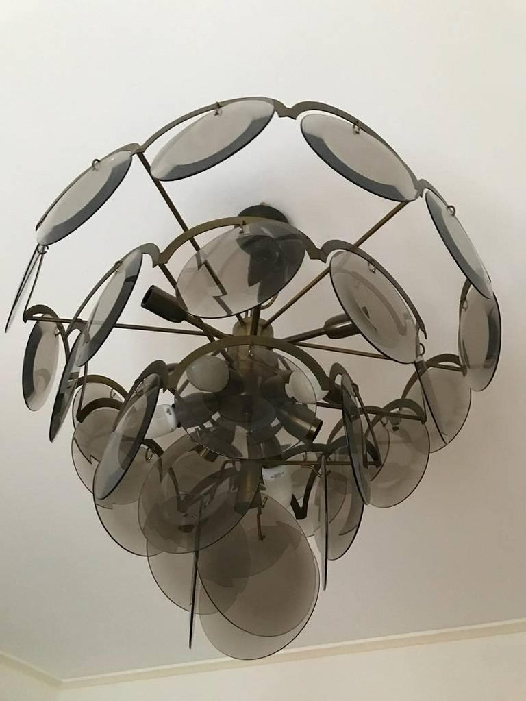 Italian Chandelier at five levels in chromed metal and smoke glass, Italy, 1970s For Sale