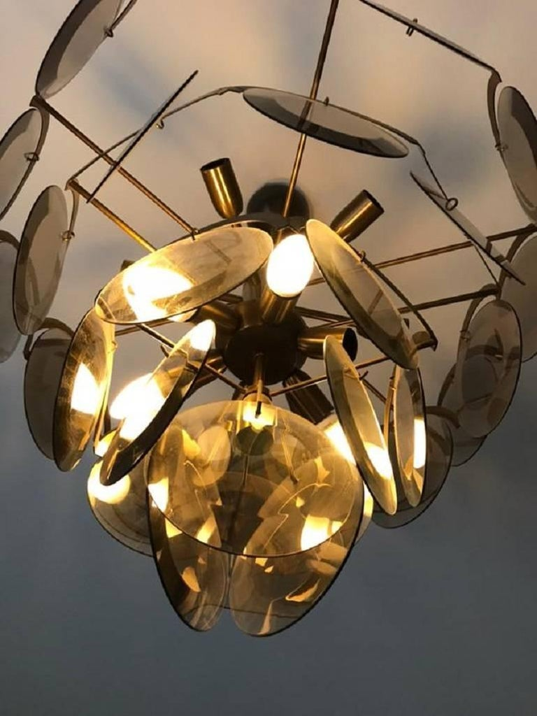 Late 20th Century Chandelier at five levels in chromed metal and smoke glass, Italy, 1970s For Sale