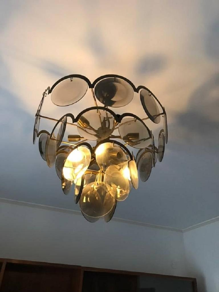 Brass Chandelier at five levels in chromed metal and smoke glass, Italy, 1970s For Sale