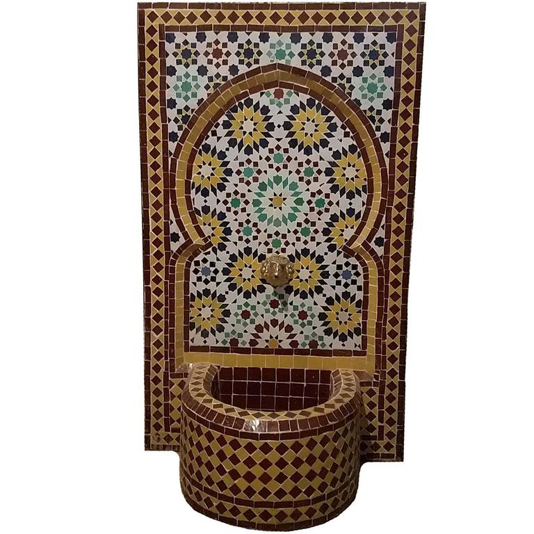 Bella Mosaic Tile Fountain, All Glazed For Sale