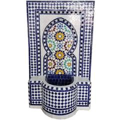 Forest Blue Moroccan Handmade Fountain, All Glazed Mosaic