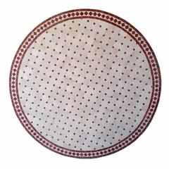 Round Moroccan Mosaic Table, Natural / Burgundy