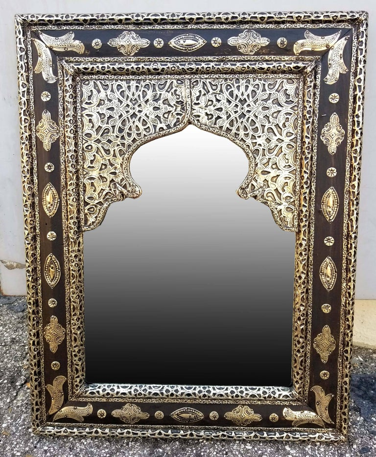 Large Metal Inlaid And Camel Bone Moroccan Mirror Made In The City Of Marrakech