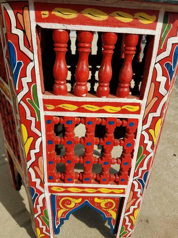 Moroccan redwood hand painted side table at 1stdibs for Moroccan hand painted furniture