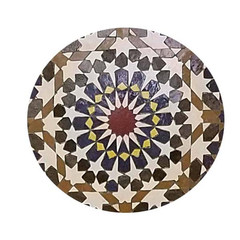 Multicolored tile fountain with brown and blue trim mosaic fountain handmade in Fes, Morocco. This beautiful fountain measures approximately 50 in height and 30 in width and weighs about 250 lbs. Please contact us if you have any questions. Thank