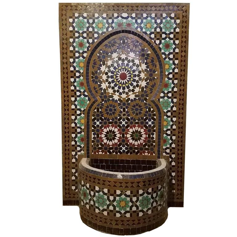 Contemporary Tangiers Style Moroccan Fountain -Mosaic Tiles For Sale