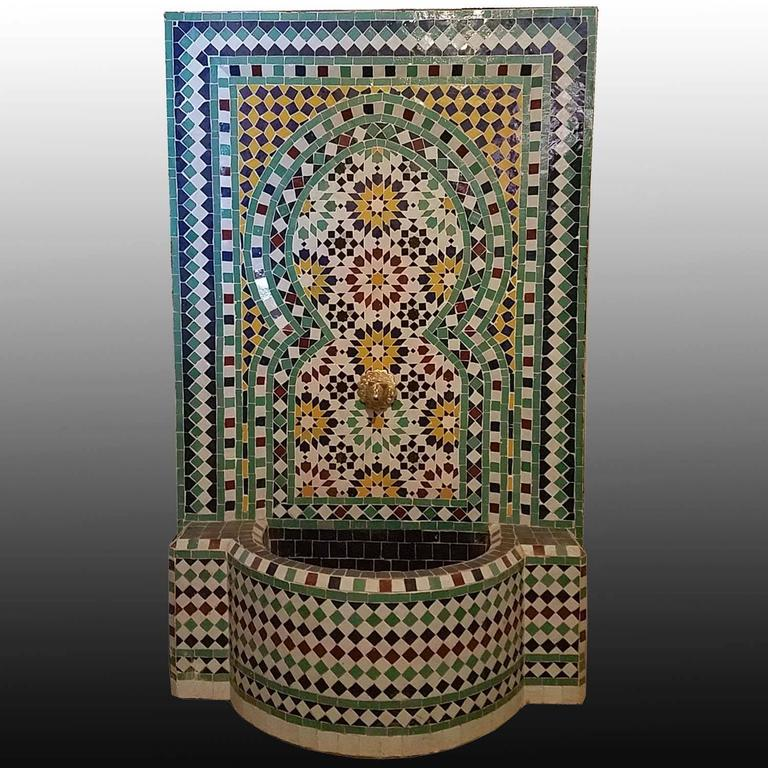Contemporary Beldia Style Moroccan Fountain, Mosaics For Sale