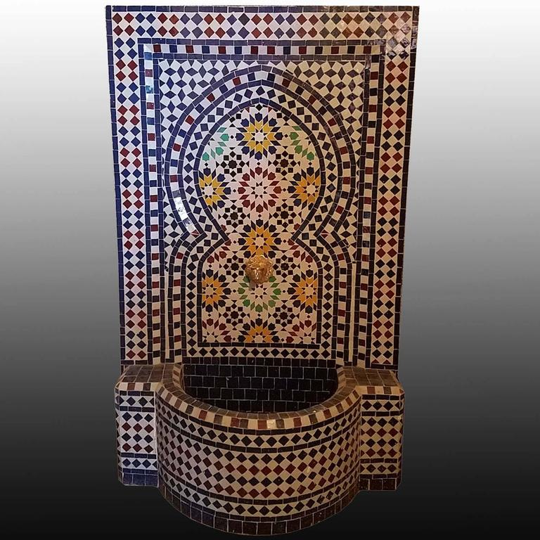 Atlantic Blue Moroccan Mosaic Fountain, Multi-Color 4