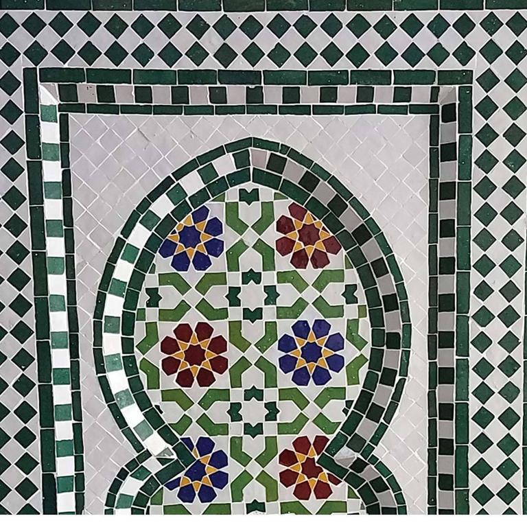 Moorish Riad Multicolor Moroccan Fountain All Glazed Mosaic For Sale