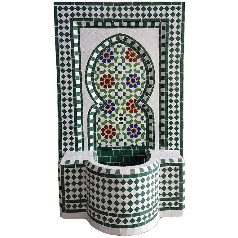 Early 17th Century Riad Multicolor Moroccan Fountain All Glazed Mosaic For Sale