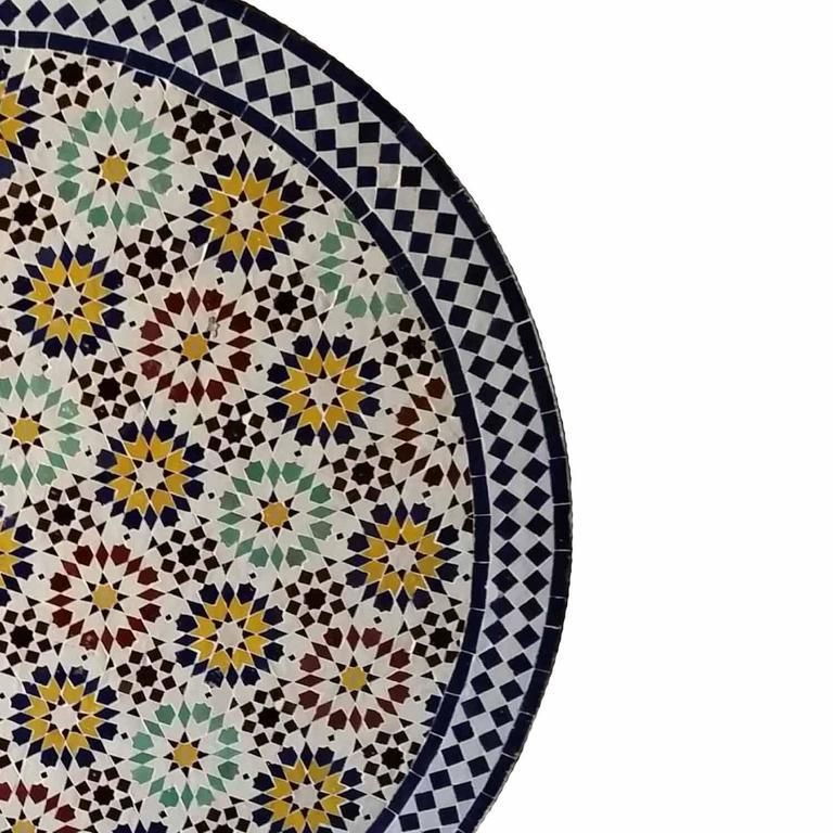 Moroccan Mosaic Table, Multicolor Beldia In Excellent Condition For Sale In Orlando, FL