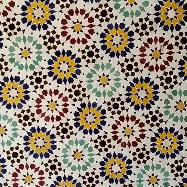 Contemporary Moroccan Mosaic Table, Multicolor Beldia For Sale