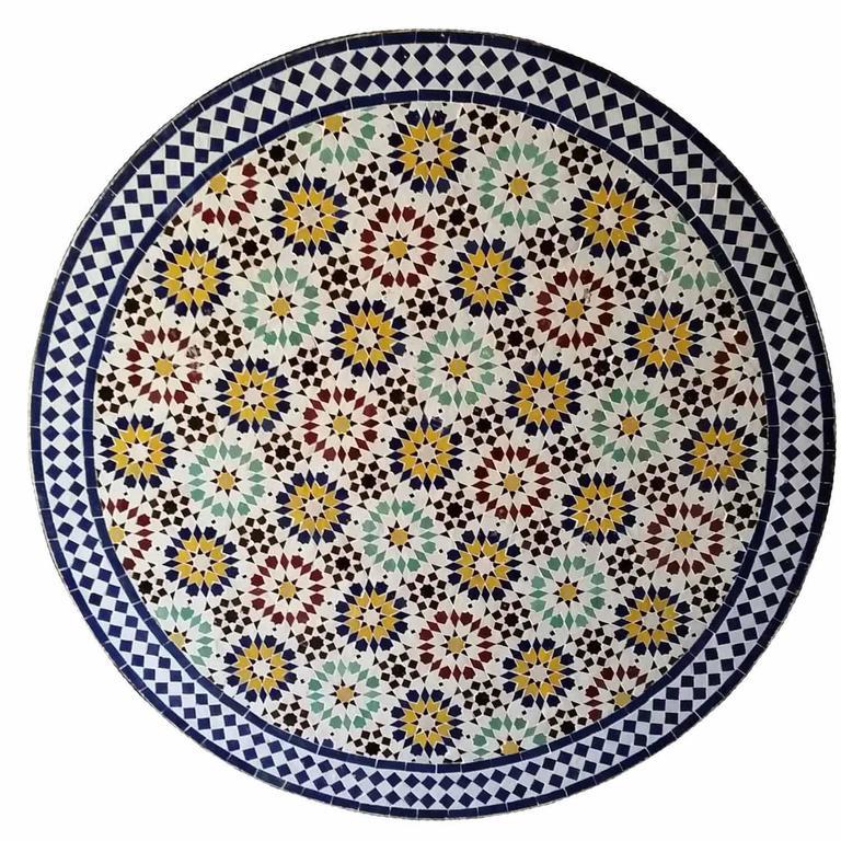 Moroccan Mosaic Table, Multicolor Beldia For Sale 2