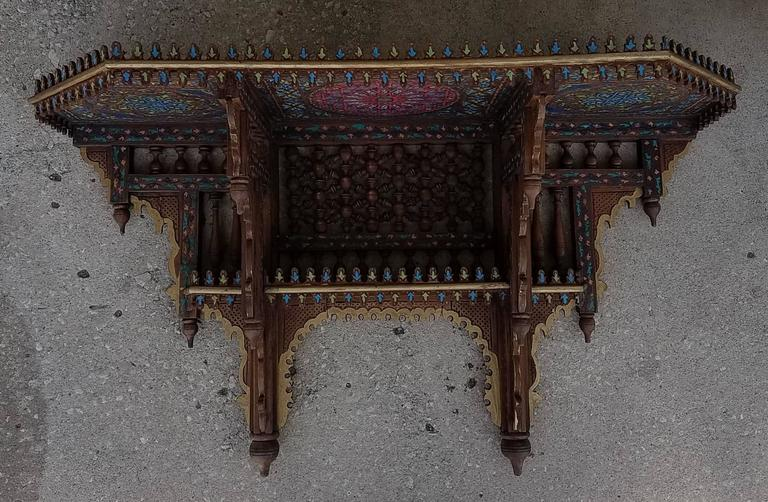 Cedar Wood Hand Painted Moroccan Wall Shelf Diaz For Sale