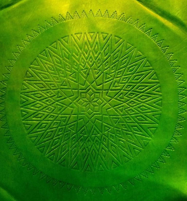 Handmade Moroccan Camel Saddle Lime Green Leather Cushion