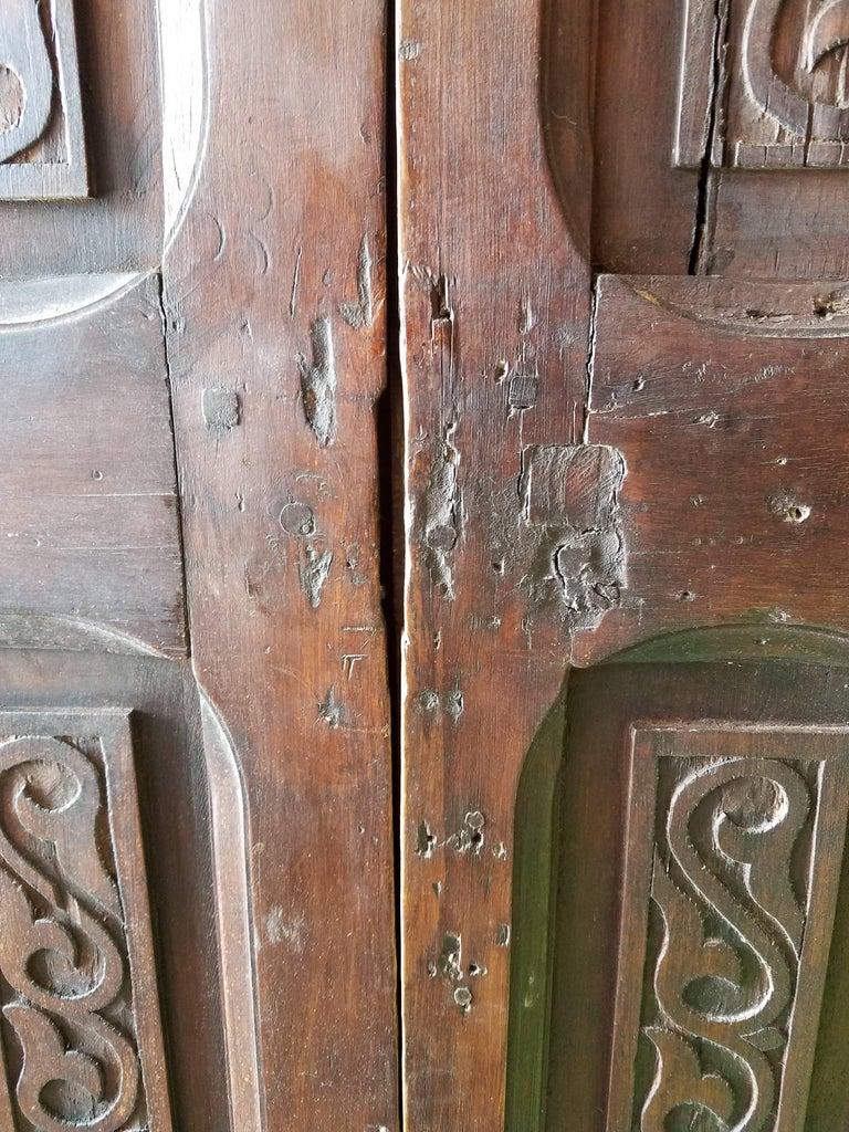 Old Early 1900s Moroccan Wooden Door Mediterranean Scroll
