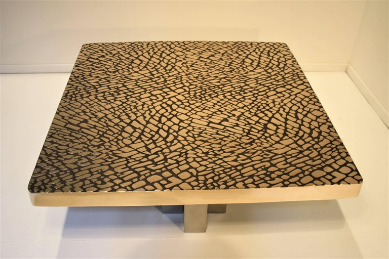Late 20th Century Belgium Solid Cast Bronze Coffee Table, 1985 For Sale