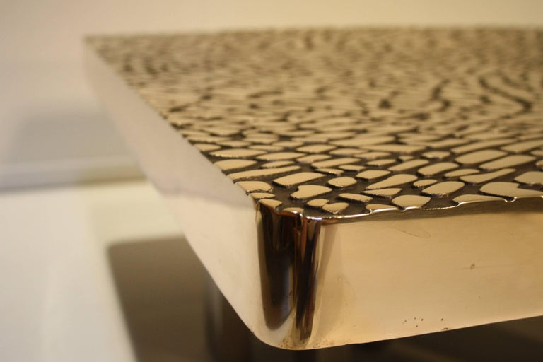 Belgium Solid Cast Bronze Coffee Table, 1985 In Excellent Condition For Sale In Belgium, BE
