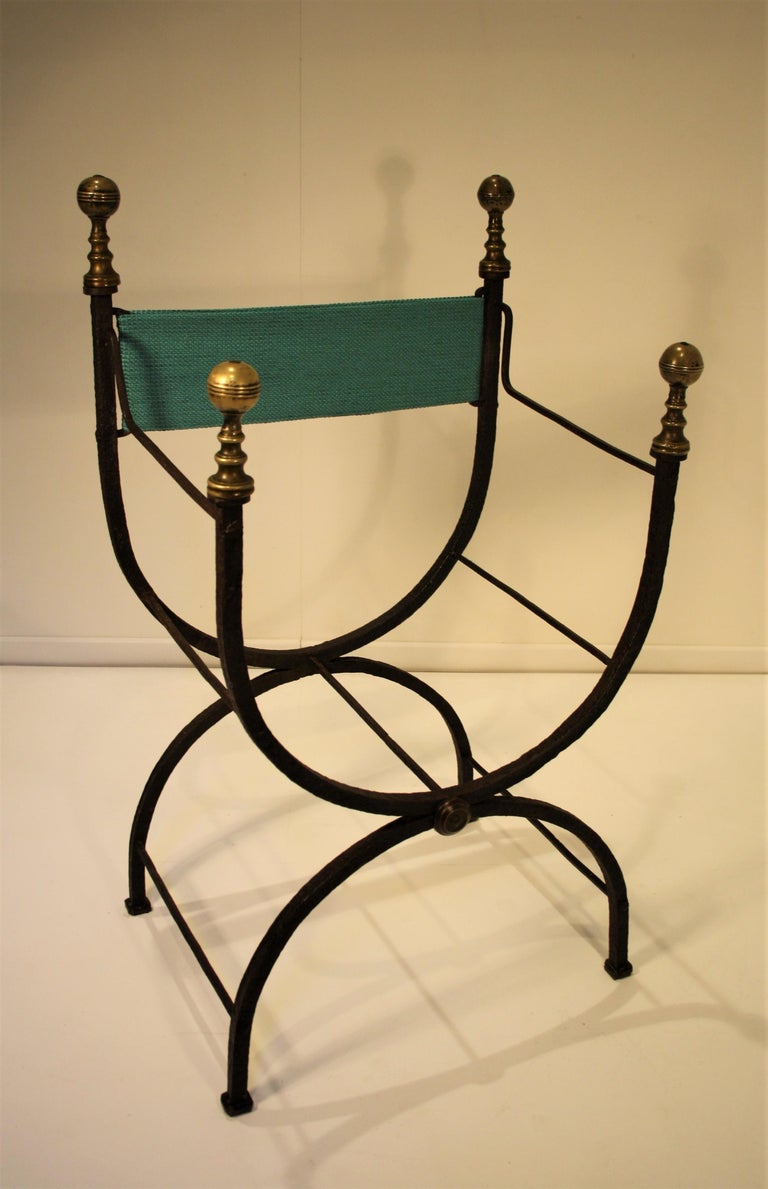 Wrought Iron 17th Century Curule Chair For Sale