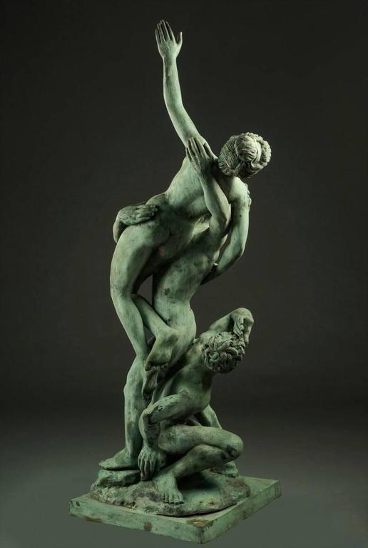Baroque Revival Very Large Italian Garden Sculpture, Patinated Bronze, Early 20th Century For Sale