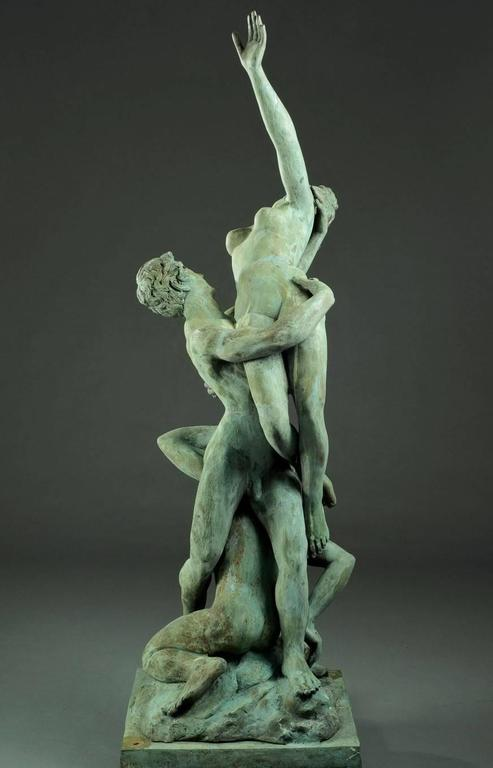 Cast Very Large Italian Garden Sculpture, Patinated Bronze, Early 20th Century For Sale