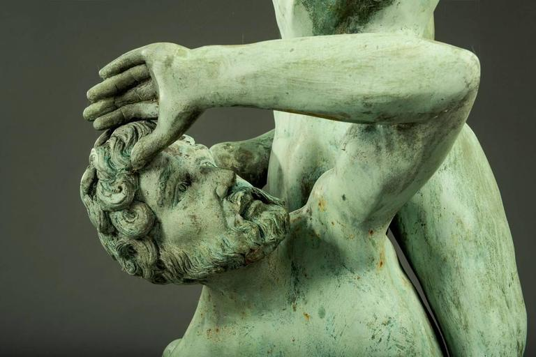 Very Large Italian Garden Sculpture, Patinated Bronze, Early 20th Century In Distressed Condition For Sale In Belgium, BE