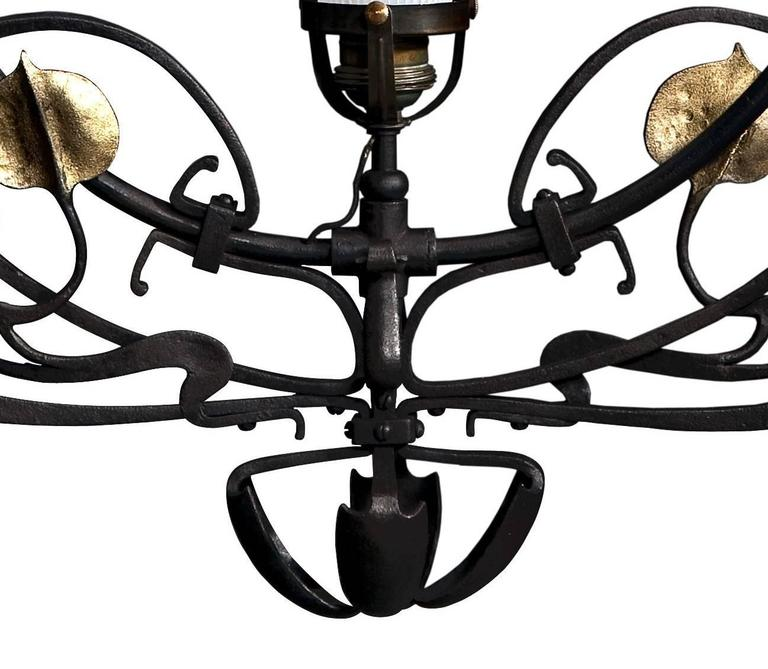 Belgian Art Nouveau Chandelier from Serrurier-Bovy, 1900s For Sale
