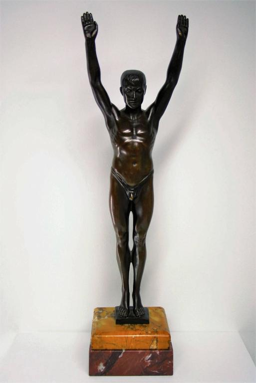 art deco franz iffland bronze swimming athlete berlin 1930s for sale at 1stdibs. Black Bedroom Furniture Sets. Home Design Ideas