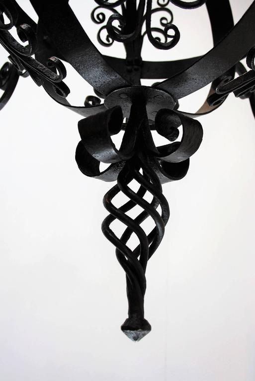 Early 19th Century Spanish Wrought Iron Chandelier For Sale 1