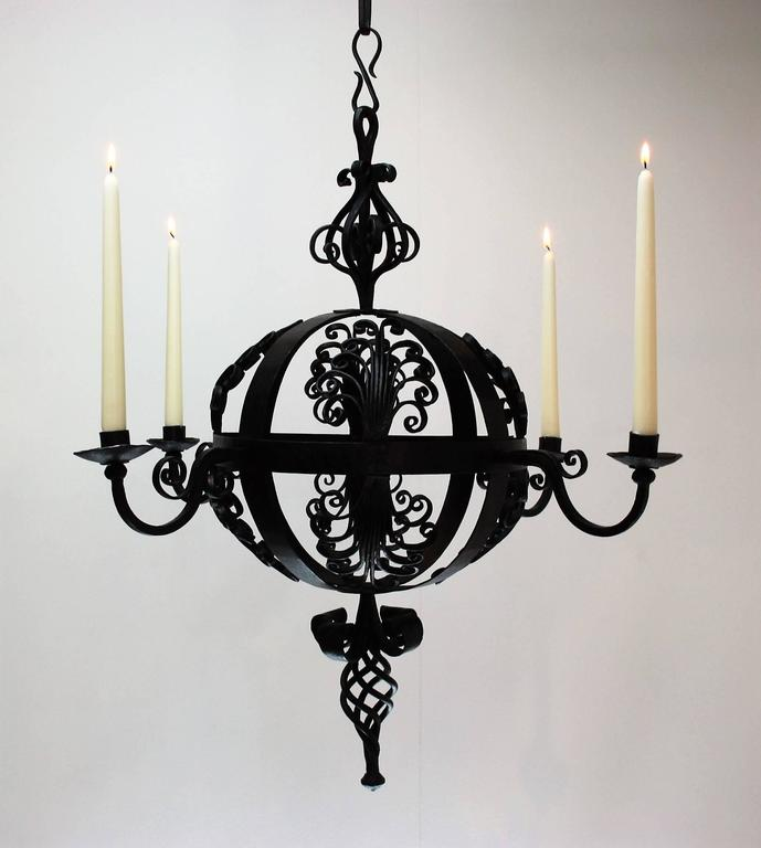 Early 19th Century Spanish Wrought Iron Chandelier For Sale 4