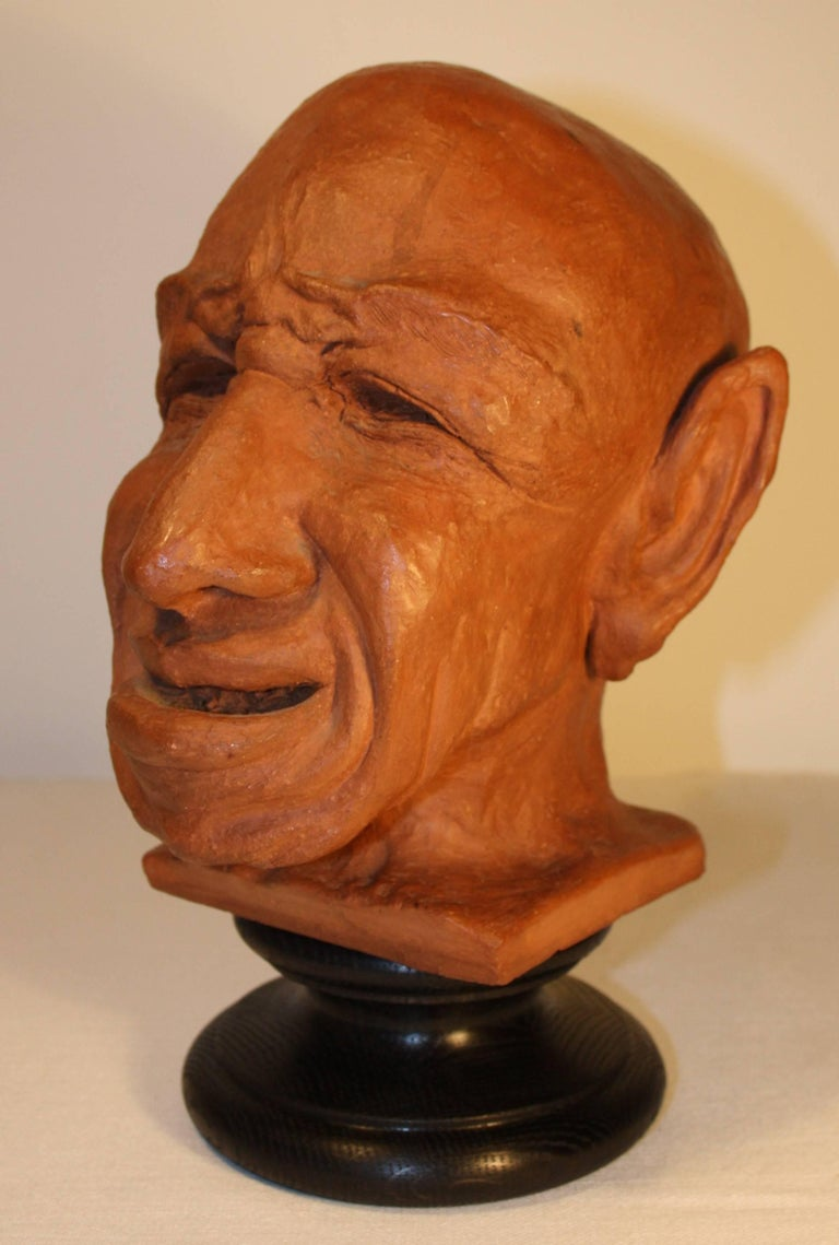 French Caricature Sculpture in Terracotta, 1950s For Sale