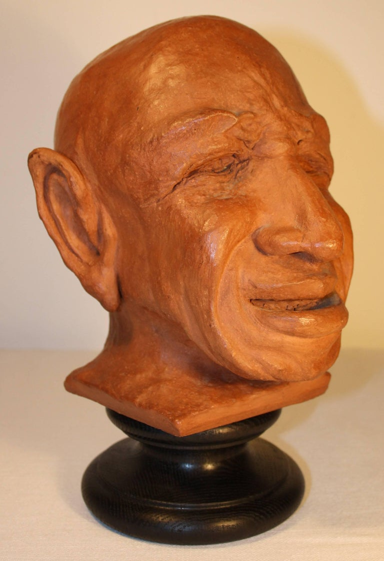 Mid-Century Modern Caricature Sculpture in Terracotta, 1950s For Sale