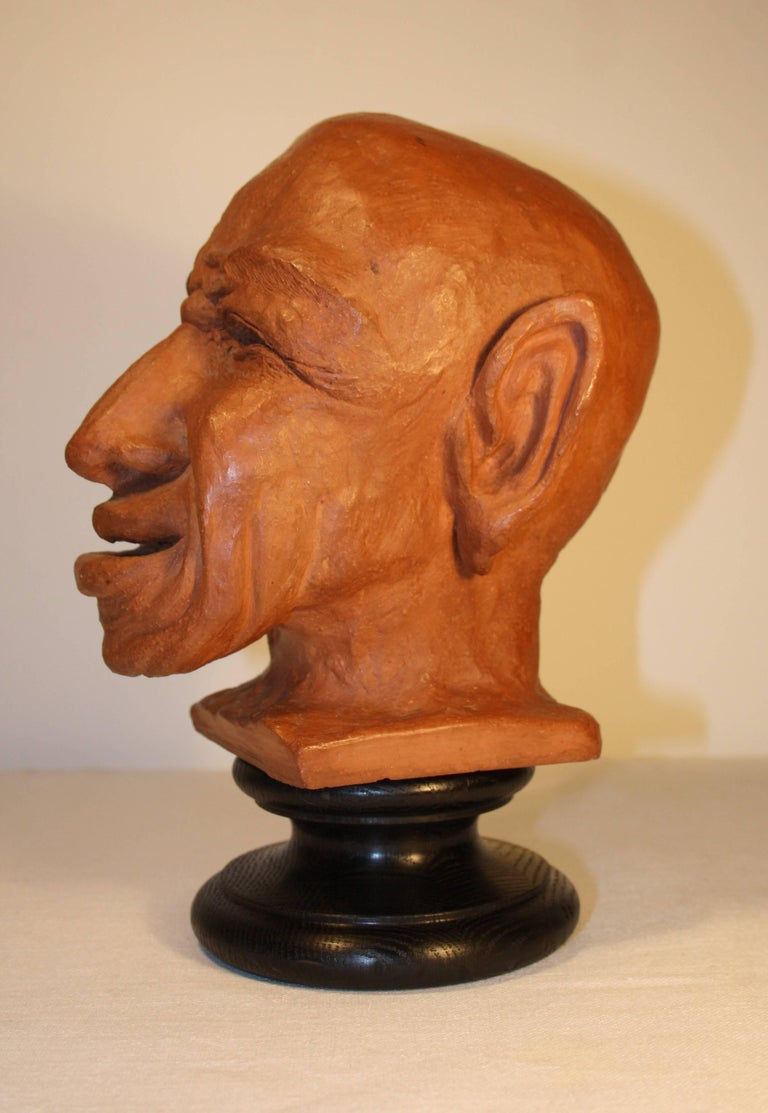 Blackened Caricature Sculpture in Terracotta, 1950s For Sale