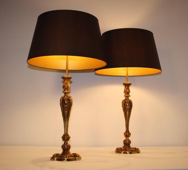Pair of Maison Baguès Bronze Table Lamps, 1940s For Sale 1
