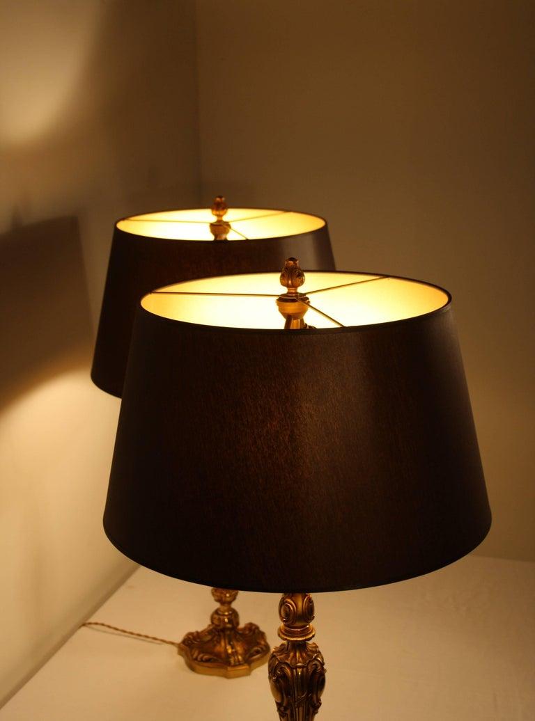 Mid-20th Century Pair of Maison Baguès Bronze Table Lamps, 1940s For Sale